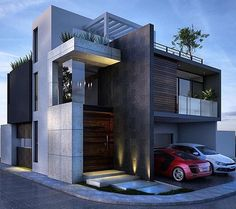 Modern architecture house design with minimalist style and luxury exterior and interior and using the perfect lighting style is inspiration for villas mansions penthouses Architecture Design, Facade Design, Amazing Architecture, Contemporary Architecture, Exterior Design, Contemporary Decor, Dubai Architecture, Dubai Buildings, Contemporary Stairs