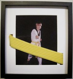 We've never seen a Karate belt incorporated into a custom frame quite like this before. Very clever! Kudos to the custom framer who thought outside of the box - or, in the case the mat - to create this amazing memory! Maybe for his black belt Karate Belt Display, Martial Arts Belt Display, Taekwondo Belts, Karate Belts, Jiu Jitsu, Dojo, Krav Maga Kids, Kenpo Karate, Award Display