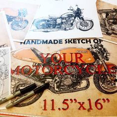 Handmade sketch of YOUR motorcycle Hi! If you want a handmade...