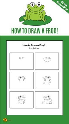 Which green animal loves to jump around? Time to learn how to draw a frog! Use our step by step tutorial to learn how to draw a frog easily with you kids. Art Drawings For Kids, Drawing For Kids, Easy Drawings, Art For Kids, Kindergarten Drawing, Kindergarten Art Projects, Frogs For Kids, Frog Drawing, Drawing Drawing