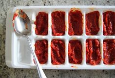 If you have more tomatoes than you know what to do with.... Tomato Paste THEN FREEZE IT!! Brilliant!