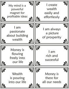 Printable wealth affirmations