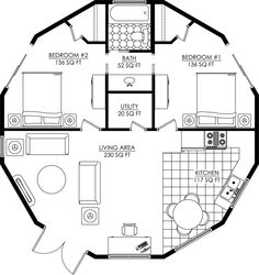 Not quite so tiny house - 746 sq ft. Round House Plans, Small House Plans, House Floor Plans, Yurt Living, Tiny House Living, Casa Octagonal, Container Hotel, Yurt Home, Octagon House