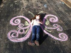 Butterfly sidewalk chalk