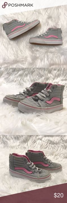 """Toddler VANS """"Sk8-Hi"""" Tops Zip Sneaker Sz 6.5 Toddler Girl size 6.5 EUC Vans Off the Wall """"Sk8-Hi"""" Tops Zip Sneakers in grey and pink! Offers are Very Welcome!! Price isn't firm. I do have similar size toddler Girl shoes available that if you want to bundle and send in an offer that'll be great!!! 💕👍🏼 Vans Shoes Sneakers"""