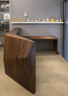 Furniture Parametric Desk In 2019 Design Amp Architecture Woodworking Ideas Pallets, Woodworking Jig Plans, Woodworking Furniture, Woodworking Logo, Woodworking Workshop, Woodworking Crafts, Modern Reception Desk, Reception Desk Design, Restaurant Hotel