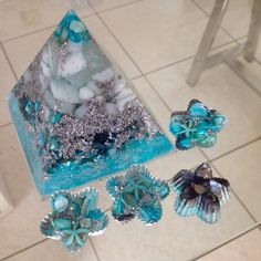 "NEW ""Iceberg"" Pyramid seen here with Blue Starfish Orgonite from pocketorgonite.com! Resin Crafts, Jewelry Crafts, Starfish, Pocket, Blue, Bags"