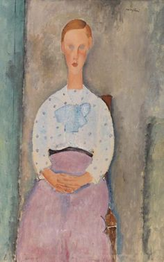 Amedeo Modigliani - Girl with a Polka-Dot Blouse (Jeune fille au corsage à pois)