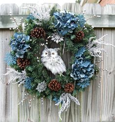 Blue, White, and Silver Winter Woodland Owl Christmas Wreath. Christmas Owls, Woodland Christmas, Christmas Crafts, Owl Wreaths, Holiday Wreaths, Holiday Decor, Winter Wreaths, Silver Christmas Decorations, Diy Wreath