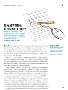 Handwriting articles