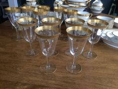 Tiffin Rambler Rose Crystal Tall Wine Water Optic Glasses 6 Excellent Gold 6 1/2 #Tiffin
