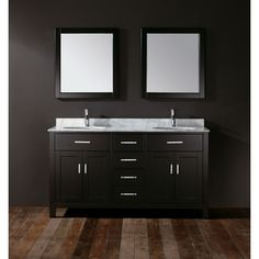With refined elegance, the Kelly 63 vanity in espresso makes a serene statement in a modern, clean-lined bathroom. The sleek metal hardware and Carrera marble countertop finish off the sophisticated design. The soft-closing doors and 3 Blum Blumotion soft-closing drawers provide ample storage space for all your necessities.   Product Features:     Rich espresso finish for timeless appeal Carrera marble countertop boasts dual undermount porcelain sinks 2 single- and 1 double-deep drawers…