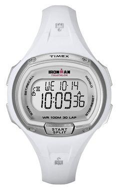 4b90449a35b9 Amazon.com  Timex Women s T5K183 Ironman Traditional 30-Lap White Resin  Strap Watch  Timex  Watches