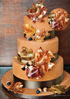 fall cake. love the leaves.