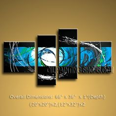 Hand-painted 4 Pieces Modern Abstract Painting Wall Art Decoration Ideas. In Stock $155 from OilPaintingShops.com @Bo Yi Gallery/ ops1126