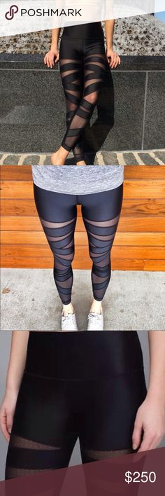"""Lululemon High Times *Tech Mesh Shine Lululemon High Times *Shine in black/mesh, size: 08 - never worn and in excellent condition with no stains or flaws.   Measurements (laid flat) - Waist: 13"""", Inseam: 25"""", Outseam: 35"""", Rise: 9.5""""  Four-way stretch material that is sweat-wicking with breathable mesh panels that help keep you cool. Wide, smooth waistband to prevent muffintop and flat seems for comfort. High-rise fit for comfort and coverage and 7/8 length.   Rare - shine dot/material…"""