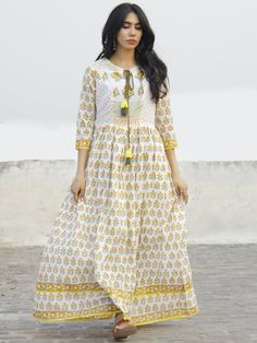 Ivory Orange Green Yellow Hand Block Printed Dress With Tassels - DS37F001.  Indian FrocksIndian DressesIndian OutfitsCotton ... 1333e889c
