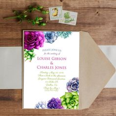 SALE 25% OFF Watercolor Succulent Invitation - Wedding - Birthday - Baby Shower - Bridal Shower - Party