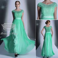 New Arrival Short Sleeves Jewel Green Crystal Long Formal Bridesmaid Dresses Fashion 2014 PK30935