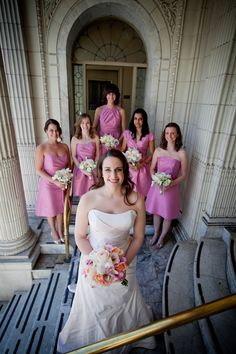 Blush Bridesmaid Dresses with Garden Bouquets. Wedding Planning & Design by Simply Wed.   www.simplywed.com