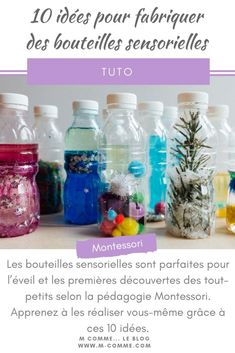 Inspirées de la pédagogie Montessori, les bouteilles sensorielles sont parfait… Inspired by the Montessori pedagogy, sensory bottles are perfect for the awakening and early discoveries of toddlers. Montessori Activities, Infant Activities, Activities For Kids, Baby Tumblr, Diy Crafts For Girls, Baby Room Diy, Sensory Bottles, Baby Sensory, Math For Kids