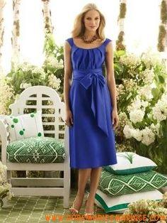 Robe demoiselle d'honneur bleue col rond