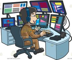 A Friendly Male 911 Dispatcher :  A man with black hair wearing a brown dispatcher uniform with gold arm patch dark blue headphones with microphone talks while sitting on a gray swivel chair behind a semi circle light blue table full of multiple black monitors controllers telephone and keyboard