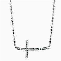 Gorgeous Stainless Steel Horizonal Cross Austrian Crystal Necklace