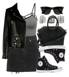 """""""Style  #10954"""" by vany-alvarado ❤ liked on Polyvore featuring Topshop, Yves Saint Laurent, Converse, Givenchy and Ray-Ban"""