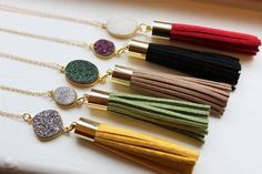 Choose Color Gold Leather Tassel Druzy Necklace White by laalee