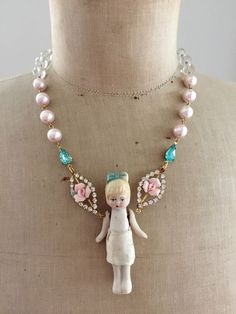 Antique or bisque doll statement necklace fairy child toy necklace Jewelry Art, Beaded Jewelry, Vintage Jewelry, Jewelry Necklaces, Recycled Jewelry, Handmade Jewelry, Bisque Doll, Gentleman, Antique Dolls