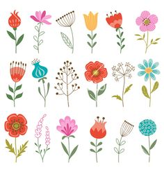 Set of flowers vector by fireflamenco on VectorStock®