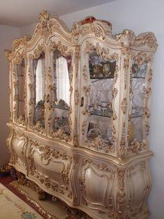 NET: Massive china cabinet with pedestal & platform base. Antique Furniture For Sale, Royal Furniture, Luxury Home Furniture, Victorian Furniture, Victorian Decor, Fine Furniture, Home Decor Furniture, Rustic Furniture, Furniture Makeover