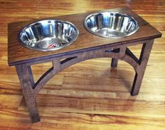 Raised Dog Feeder 1 Qt 8 Inch Double Sellwood by WoodinYou