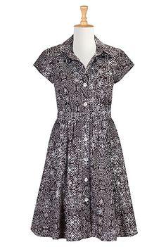 I <3 this Ikat print cotton belted shirtdress from eShakti