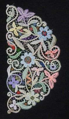 multi-colored bobbin lace
