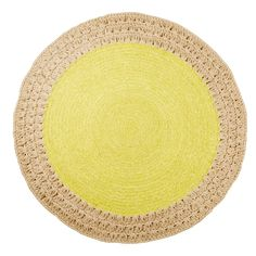 Round Crochet Jute Rug with Chartreuse Woven Centre