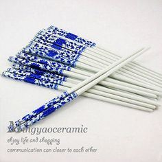 Meticulous Handmade Blue and White China Porcelain of Jingdezhen Chopsticks