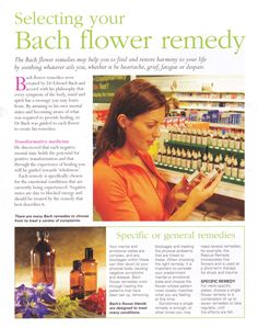 Selecting your Bach flower remedy           ALSO: http://www.homeopathyforwomen.org/bach_flower_dosing.htm