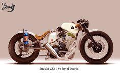 Suzuki GSX 1/4 by El Osario : Suzuki GSX engine, rigid frame, BMW gas tank, 2 in 1 pipes with supertrapp mufflers, maechessini rear wheel, brembo brake, clip ons, mr propper bottle, nos, Kawasaki fork