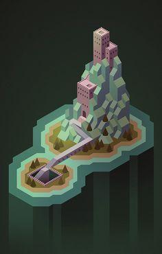 Another isometric mountain castle thing.  #isometric #jesseriggle #illustration #conceptart #castle #fantasyart #digital #digitalillustration