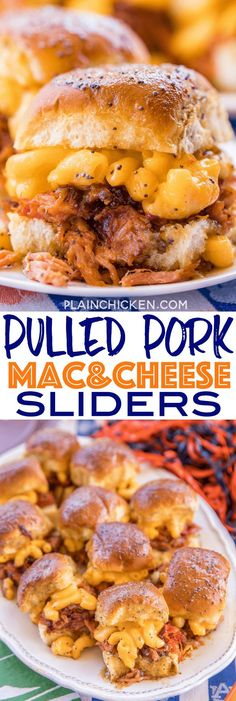 Pulled Pork Mac and Cheese Sliders recipe - CRAZY good! I took these to a party and they were gone in a blink of an eye! Slow cooked pulled pork on Hawaiian rolls topped with macaroni and cheese, bbq sauce and a sweet and savory butter sauce. These sand Slider Recipes, Pork Recipes, Cooking Recipes, Sandwich Recipes, Sausage Recipes, Cheese Recipes, Easy Cooking, Cooking Tips, Recipies