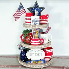 Go for charming and adorable tiered tray décor ideas for of July. Demonstrate your patriotic side and persuade others with Patriotic two-tiered stand ideas mentioned beneath. Fourth Of July Decor, 4th Of July Decorations, 4th Of July Party, July 4th, Tiered Stand, July Crafts, Tray Decor, Independence Day, Tier Tray