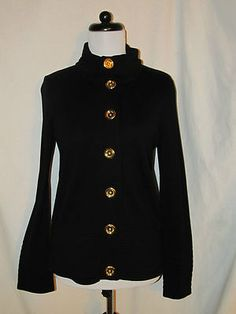Sz S Jones New York Signature Black Sweater Jacket Gold Buttons Rolled Collar
