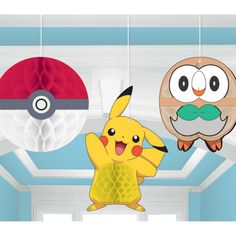 3 x Pokemon Honeycomb balls Great for a party! Pokemon Party Supplies, Honeycomb Decorations, Hanging Decorations, The Originals Show, Pokemon Birthday, Kids Party Themes, Panel, For Your Party, Party Favors