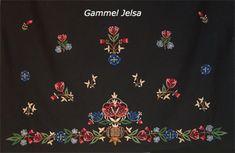 Jelsa, old bunad pattern. Folk Clothing, Folk Embroidery, Going Out Of Business, Jelsa, Different Patterns, Traditional Dresses, Fiber Art, Norway, Folk Art