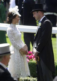 Catherine, Duchess of Cambridge, stunned in a bespoke lace dress by her favourite designer Alexander McQueen, complete with a matching hat, as she joined her husband Prince William, Duke of Cambridge who is handsome in Tux at Royal Ascot 2017.