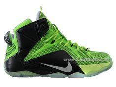Officiel Nike Lebron 12/XII - Chaussures Nike Pas Cher Pour Homme Noir/Vert 684493-609