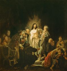 The risen Christ and St Thomas the Apostle.  Rembrandt van Rijn.