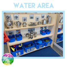 Water area of provision Water Play Activities, Nursery Activities, Indoor Activities, Sensory Activities, Eyfs Classroom, Classroom Layout, Toddler Classroom, Classroom Ideas, Early Years Maths